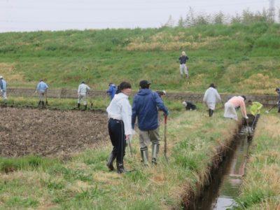 福田地域の人たちと一緒に堀さらいを行いました。